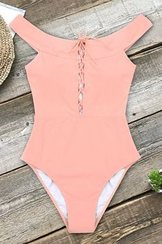 Peach Pink Lace-Up One-Piece Swimsuit – Cupshe Striped Bikini, Floral Bikini, Pink Lace, Lace Up, Fashion Shopping Apps, Striped One Piece, Cute Bathing Suits, Cute Swimsuits, One Piece Swimsuit