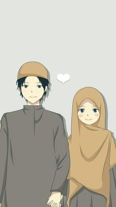 Wedding Couple Cartoon, Love Cartoon Couple, Cute Couple Art, Muslim Photos, Cute Muslim Couples, Islamic Cartoon, Image Citation, Anime Muslim, Hijab Cartoon