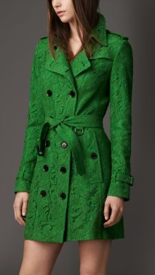 Burberry Mid-Length Cotton Lace Trench Coat