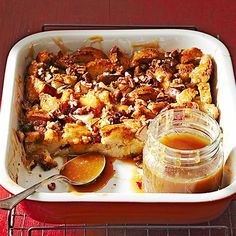 Caramel-Pear Bread Pudding ~ This gooey-good dish is full of the sweet combination of fresh pears and rich caramel. In fact, it's so good it could easily pull double duty as breakfast and dessert. Simply serve in the morning with lighter fare, such as fruit or yogurt; in the evening, it's a sweet way to finish off your meal.