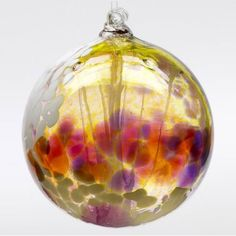 Kitras Art Glass - Hand Blown Glass Hanging Ornament - Witch Ball - FAIRY ORB - PINK