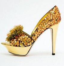 Sergio Rossi - Gold paillette platform peep-toe sandal with coral detail      Live a luscious life with LUSCIOUS: www.myLusciousLife.com