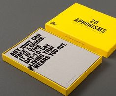 20 Aphorisms - Cards with short sentences and large truths.