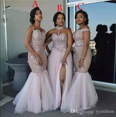 2018 Modest African Bridesmaid Dresses Long Mixed Style Appliqued Lace Tulle Split Side Slit Custom Made Maid Of Honor Bridesmaids Gowns African Bridesmaid Dresses, Mermaid Bridesmaid Dresses, African Wedding Attire, Maid Of Honour Dresses, Maid Of Honor, Wedding Party Dresses, Bridal Dresses, Dresses Uk, Dresses Ireland