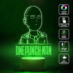 CMLART One Punch Man Hagemanto Portrait 3d Lamp Night 7 Color Change Best Gift Night Light LED Furnish Desk Table Lighting Home Decoration Toys * Read more  at the image link.