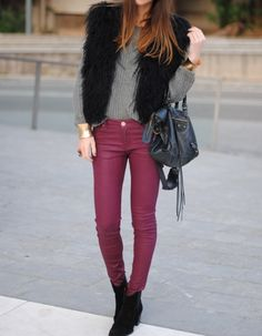 Burgundy. Faux fur. Fall. Winter. Casual chic.