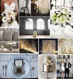 Grey, black, and white industrial-inspired inspiration board. Via Alexan Events.