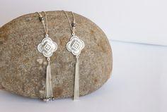 Silver Tassel Necklace Long tassel necklaces Christmas gift Silver long necklaceLong silver necklacenecklace tassel /N-109 (38.00 USD) by FeminaHandmade