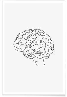 Brainstorm - Lukas Frischknecht - Affiche premium - Book Illustration Posters for Sale: Prints, Paintings & Wall Art . Art And Illustration, Illustrations, Art Sketches, Art Drawings, Art Minimaliste, Minimal Art, Art Du Croquis, Minimalist Drawing, Minimalist Design