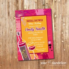 Wine Tasting Bridal Shower Printable Invitation by soardandelion, $9.90
