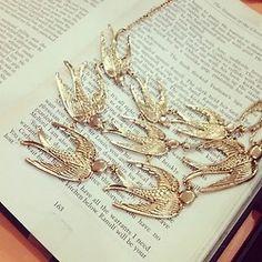 Flock of birds statement necklace