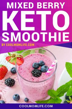 Keto Smoothie - Delicious low carb smoothie recipes with mixed berries, almond butter and almond milk. Enjoy your Keto Diet by making this smoothie as part of your Keto Breakfast. Enjoy more Keto…More Smoothie Bowl, Mixed Berry Smoothie, Berry Smoothie Recipe, Breakfast Smoothie Recipes, Dinner Smoothie, Avocado Smoothie, Smoothie Cleanse, Diet Breakfast, Juice Cleanse