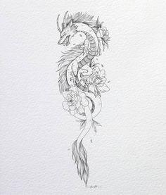 Line Art Tattoos, Anime Tattoos, Mini Tattoos, Body Art Tattoos, Small Tattoos, Sleeve Tattoos, Dragon Tattoo Line Art, Dragon Tattoo Stencil, Tatoos