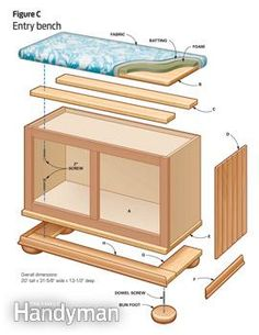 Looking for inexpensive DIY furniture plans? These three projects will show you how to turn stock kitchen cabinets into a TV stand, a storage cabinet and an entry bench. (diy storage for toys furniture plans) Do It Yourself Furniture, Diy Furniture Plans, Repurposed Furniture, Furniture Projects, Furniture Makeover, Home Projects, Entry Furniture, Furniture Storage, Kitchen Furniture