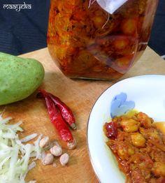 Aam Aur Chane Ka Achar /Mango Pickle by Maayeka Raw Food Recipes, Indian Food Recipes, Ethnic Recipes, Indian Foods, Indian Dishes, Vegetarian Cooking, Vegetarian Recipes, Pickle Mango Recipe, Gujarati Cuisine