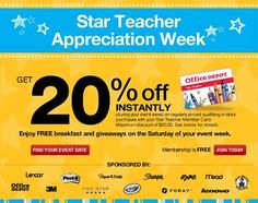 Office Depot Teacher Appreciation Discount: Mark your calendars for the Office Depot Educator Appreciation Week coming soon to a location near you!   A couple times during the school year, Office