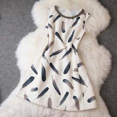 Feather printed dress