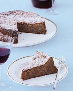Matzo cake meal stands in for flour in this Passover-friendly dessert -- Flourless Apple-Pecan Torte Recipe