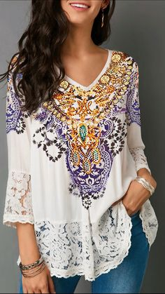 Are you searching for a Lace Patchwork Three Quarter Sleeve White Blouse? Are you excited to wear Lace Women's Top? Here is the Lace Blouse that you are looking for Plus Size Blouses, Plus Size Tops, Look Fashion, Womens Fashion, Ladies Fashion, Trendy Fashion, Trendy Tops For Women, Stylish Tops, Mode Outfits