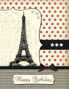 paris birthday card love the design but different colors