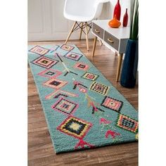 nuLOOM Hand Tufted Wool Moroccan Triangle Turquoise Runner Rug (2'6 x 12') | Overstock.com Shopping - The Best Deals on Runner Rugs