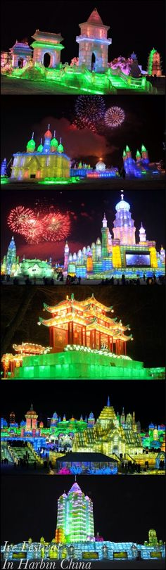 I imagine this would be awesome to see in person! -- The Harbin Ice Festival in China. #icesculpture #Harbin #festivals