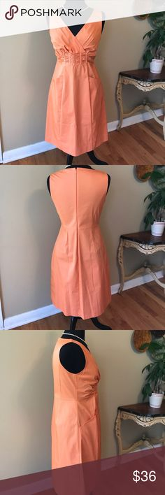 """Elie Tahari Peach  Dress NWOT Size 8 Elie Tahari Peach Dress . NWOT . Size 8.  This is a wardrobe basic. Dress up or down. Two pockets. Purchased for one of my daughters and she didn't want to wear. Measurements appropriately 18"""" from armpit to armpit, 15 1/2"""" Waist without stretching! 37"""" Length. 🚫trades. Please ask all questions prior to buying Elie Tahari Dresses Midi"""
