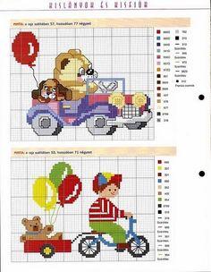 Free Cross Stitch Pattern Teddy Bear in car & Boy in car borders