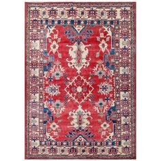 Herat Oriental Afghan Hand-knotted Kazak Red/ Ivory Wool Rug (6'3 x 8'10)