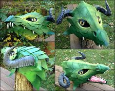 Superstars Which Are Helping Individuals Overseas Green Dragon Mask By Chromamancer On Deviantart Make A Dragon, Green Dragon, Dragon Mask, Dragon Head, Dragon 2, Cardboard Mask, Diy Cardboard, Puppet Costume, Dragon Puppet