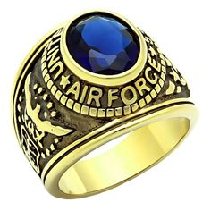 PRODUCT DESCRIPTION: Air Force G: This handsome US Air Force Ring makes an ideal gift for any current or retired Pilot! Carefully handcrafted from solid 316L Stainless Steel with Ionic Plated 14K Yell