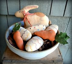 Brown Spotted Bunny Bowl Fillers Primitive Rabbit Carrots Easter Eggs Rustic Easter Decoration. $25.00, via Etsy. #handmade