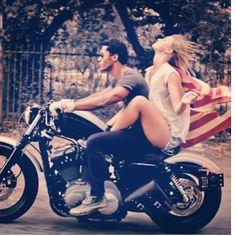 Harley Davidson, and American Flag