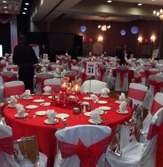 Red dress gala decorations