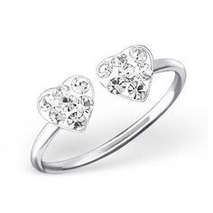 Genuine 925 Sterling Silver White Cubic Zirconia Double Heart Rings adjustable little finger ring