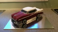 1956 Chevy carrot cake with cream cheese icing, fondant covered