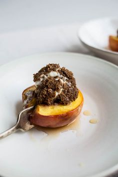 Honey Roasted Peaches with Teff-Crusted Ice Cream (gluten-free, refined sugar-free) | saltedplains.com