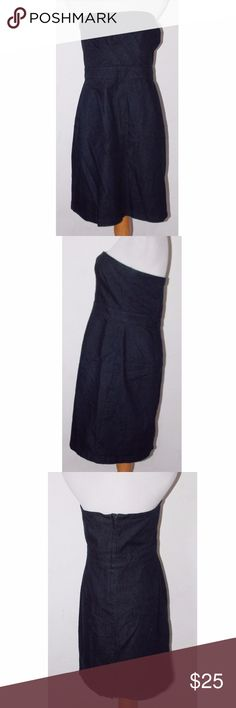"New York & Company Blue Denim Dress Size 18 Good preowned condition. Cotton blend.  Dress is pinned to mannequin to show how it'd fit.  + Size 18.  - Measures 30"" long from top to bottom hem and 20"" from side to side at the top. New York & Company Dresses Strapless"