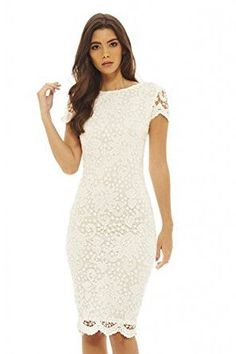 432bfed7e57 Cream Round Neck Short Sleeve Lace Bodycon Midi Dress
