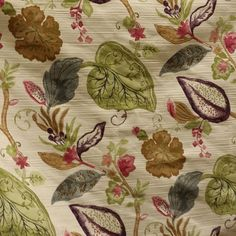 This is a beautiful purple, pink, green, grey and brown floral upholstery fabric. This fabric is perfect for any home decorating project.v117
