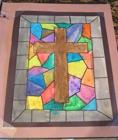 Easter Cross Art Project -Draw a cross with a ruler in middle using a pencil. Make an outline of a border along the edges. Then make random shapes in between the cross and the border. Next, trace all the lines with a permanent marker. Paint with watercolors and glue on construction paper for a frame.