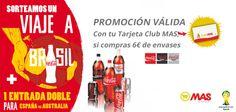 Hasta el 7 de junio, si compras 6€ en Coca Cola en nuestros Supermercados MAS con la Tarjeta Club MAS, entrarás en el sorteo de un viaje a Brasil para dos personas con las entradas para ver #LaRoja!
