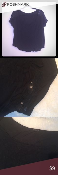 Mine oversized Tee Mine oversized T-shirt with sequin sleeves. Swoop neck and very comfortable, pocket on side. Not a crop top! Tags: free people, buckle, miss me, Zara, forever 21, h&m, Nike, victoria Secret pink Tops Tees - Short Sleeve