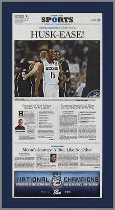 Connecticut Huskies Wood Mounted Poster Print - Husk-Ease - NCAA Champions 2010-11