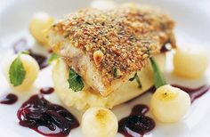 © Marcus Wareing/Great British FoodWild sea bass glazed with a pine nut crust with red wine shallots, parsnip purée and baby turnips* 2 wild sea bass, 400-600g total weight, filleted and skinned* Olive oil* Salt and pepper