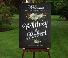 These come as a digital file that you can order printed from vista print or locally Large Custom Chalkboard Wedding Sign by RememberNovemberShop, $12.00