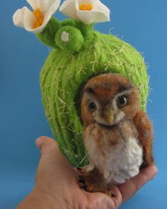 Needle Felted Art by Robin Joy Andreae: Bisbee, a Cute Little Pygmy Owl