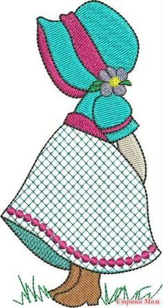 Sunbonnet Sue - what a lovely version :-) Mais Más Machine Embroidery Patterns, Applique Patterns, Quilt Block Patterns, Applique Quilts, Applique Designs, Hand Embroidery, Sunbonnet Sue, Girls Quilts, Baby Quilts