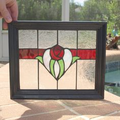 Ruby Red English Rose Stained Glass Mosaic Floral by ARTfulSalvage, $70.00