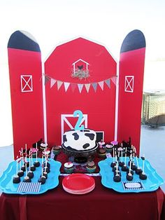 @ heather ! Modern Barn Birthday Party. I can make this with a red tri-fold and some black construction paper